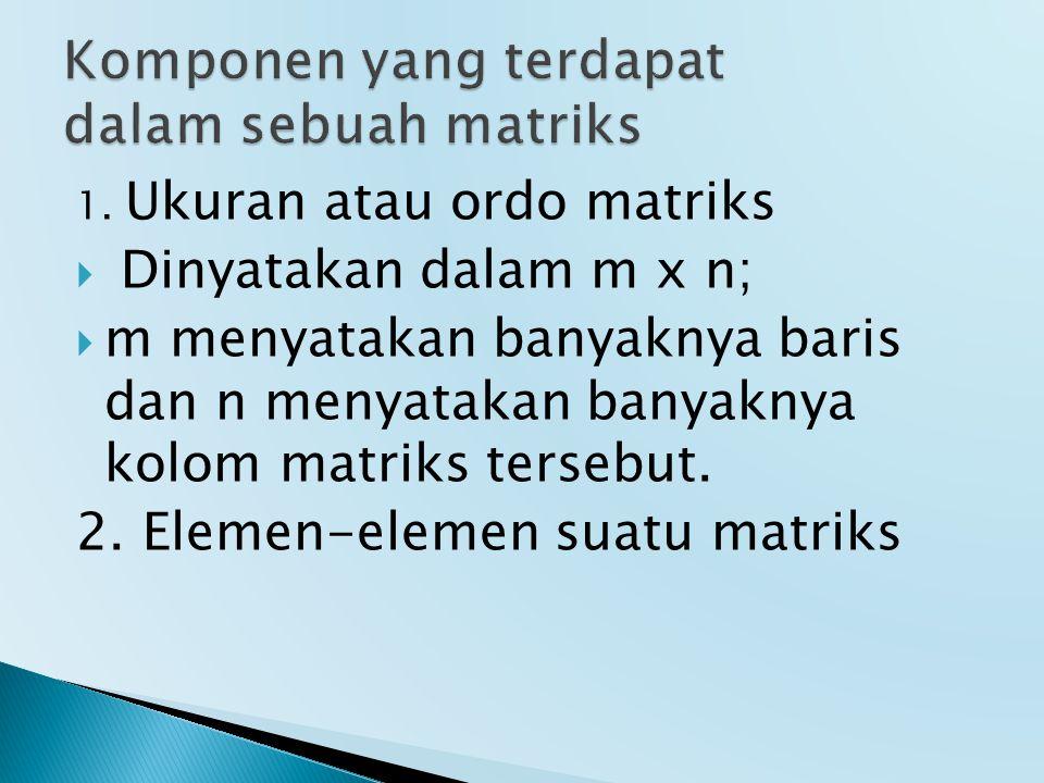 Komponen yang terdapat dalam sebuah matriks
