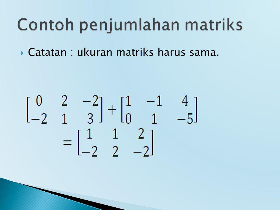 Contoh penjumlahan matriks