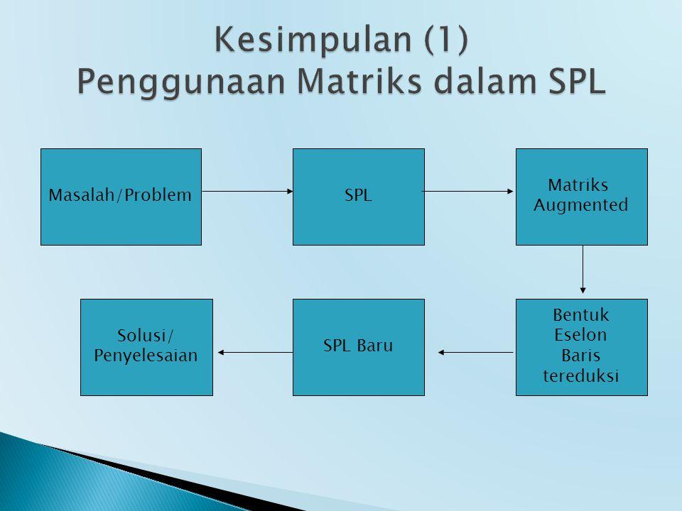 Kesimpulan (1) Penggunaan Matriks dalam SPL