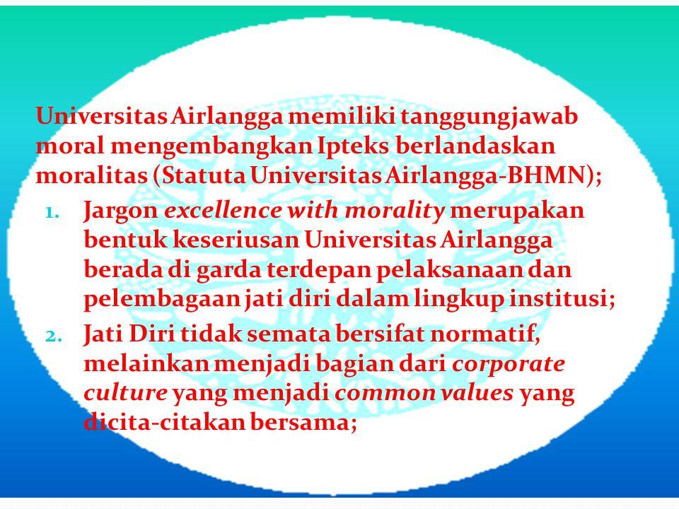 Universitas Airlangga memiliki tanggungjawab moral mengembangkan Ipteks berlandaskan moralitas (Statuta Universitas Airlangga-BHMN);