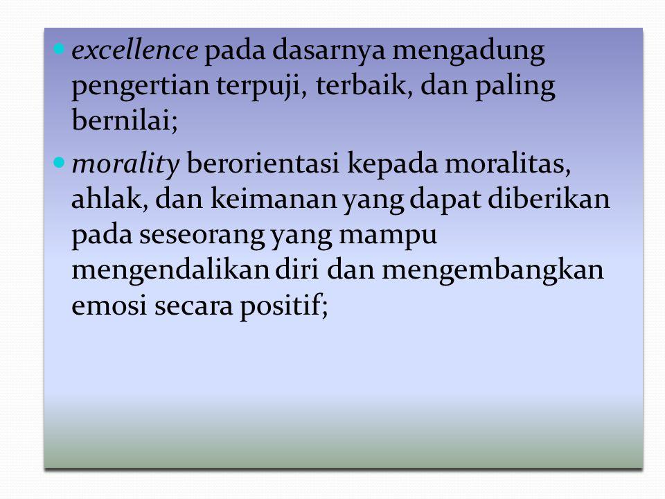 excellence pada dasarnya mengadung pengertian terpuji, terbaik, dan paling bernilai;