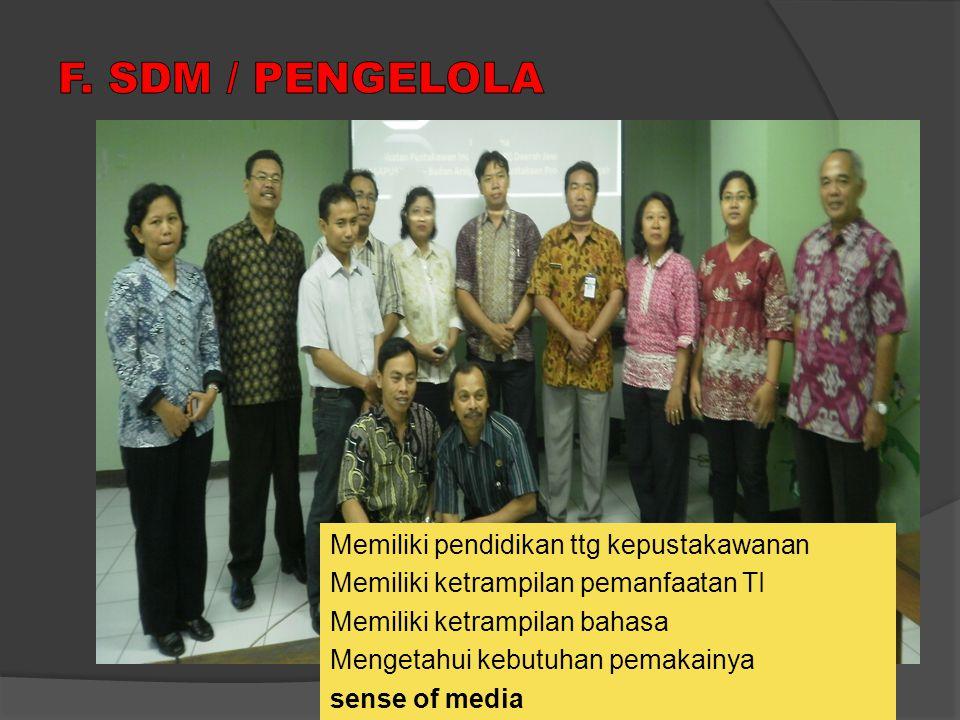 F. SDM / PENGELOLA Memiliki pendidikan ttg kepustakawanan