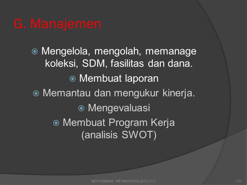 G. Manajemen Mengelola, mengolah, memanage koleksi, SDM, fasilitas dan dana. Membuat laporan. Memantau dan mengukur kinerja.