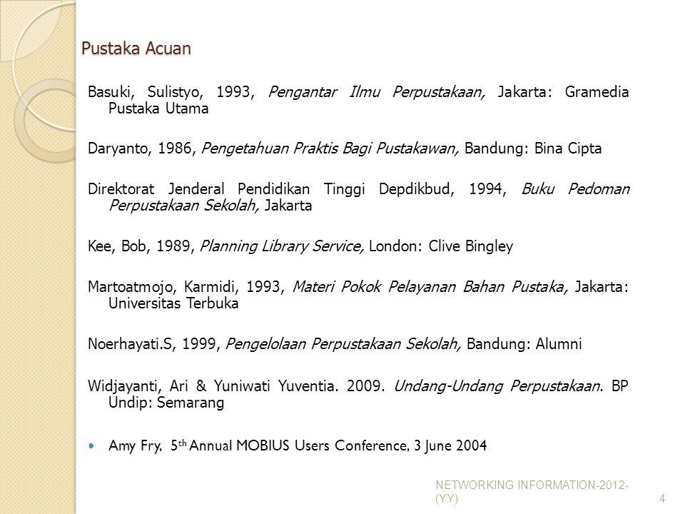 Pustaka Acuan Basuki, Sulistyo, 1993, Pengantar Ilmu Perpustakaan, Jakarta: Gramedia Pustaka Utama.