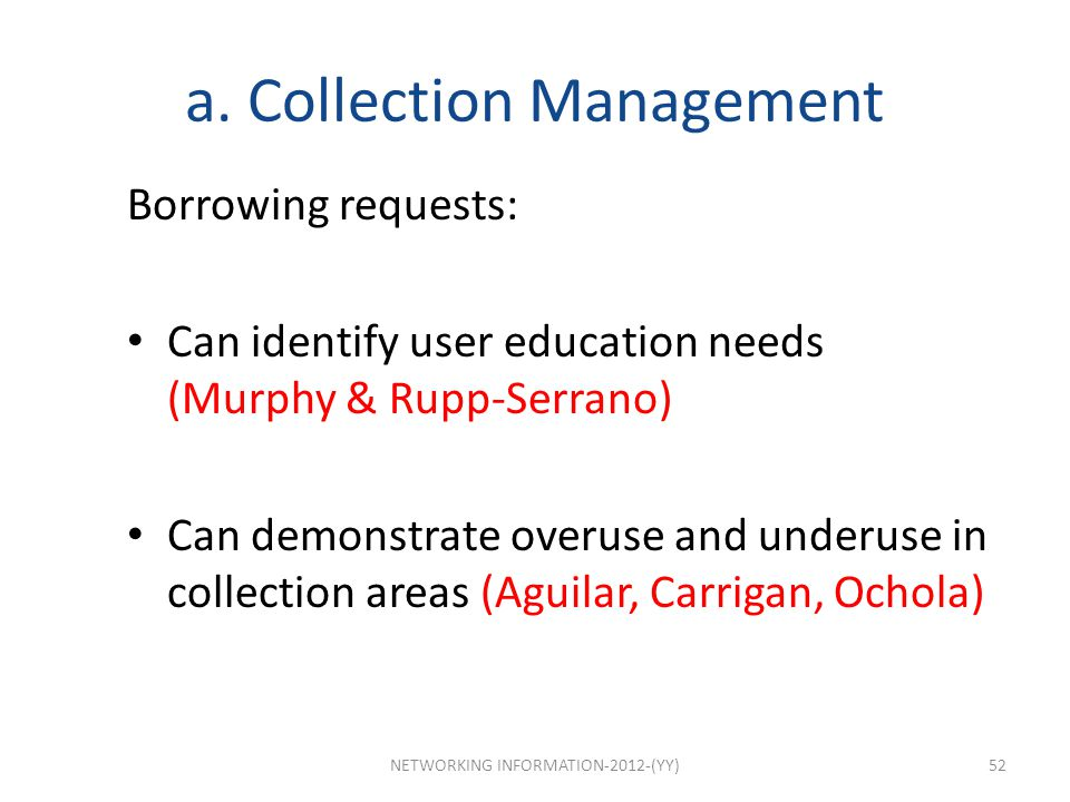 a. Collection Management