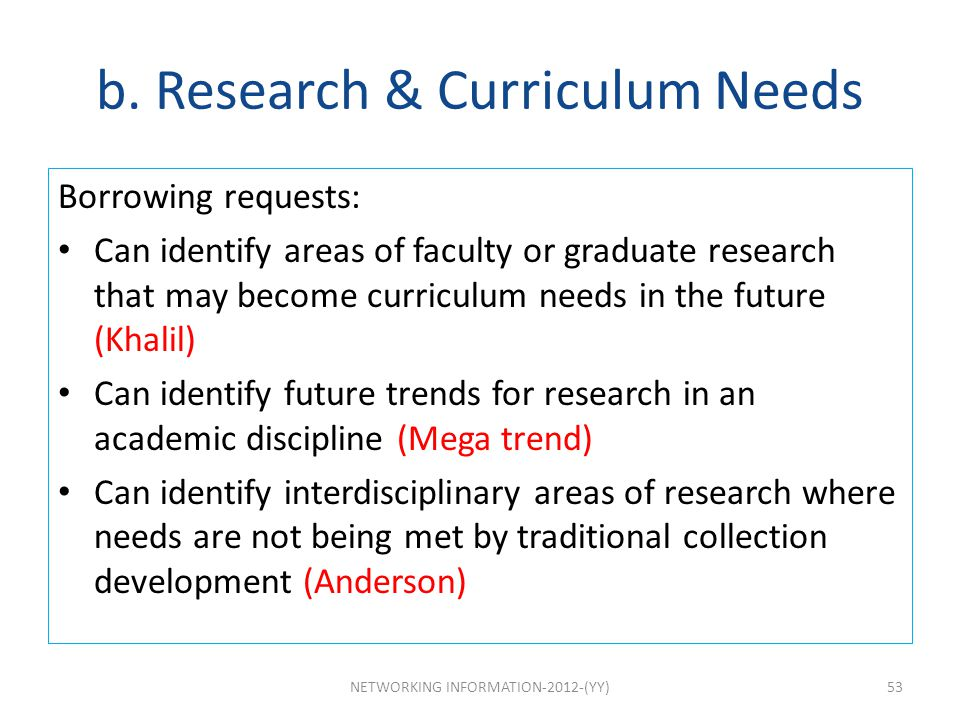 b. Research & Curriculum Needs
