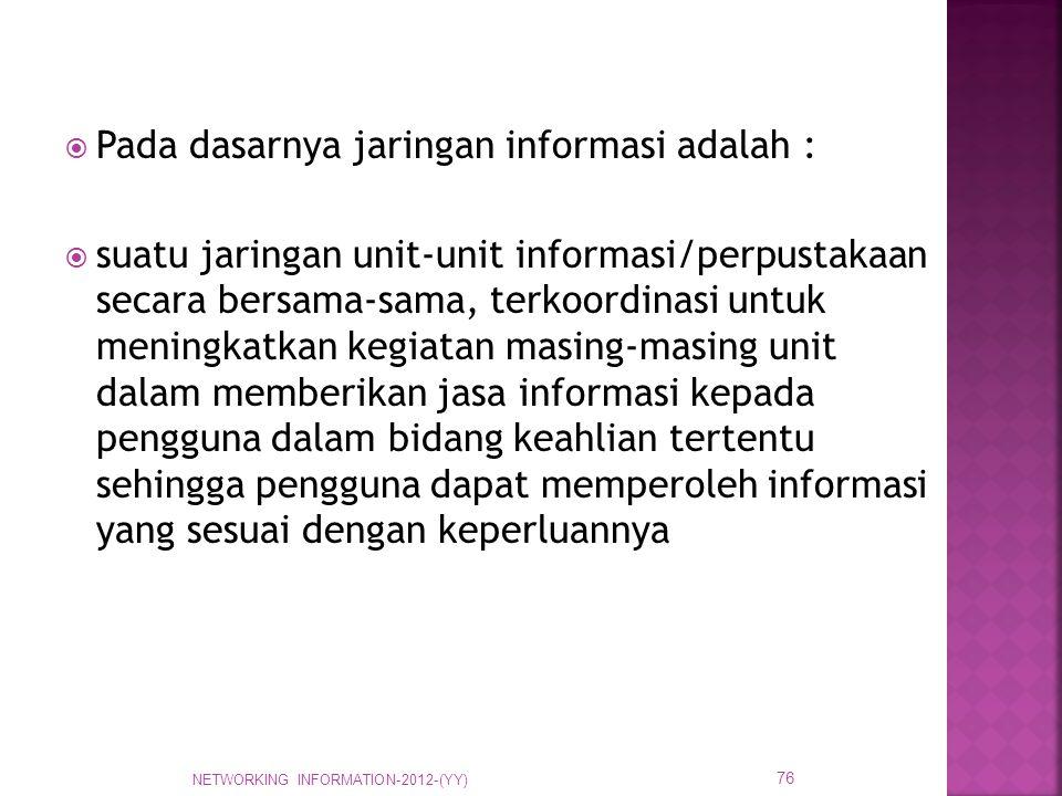 Pada dasarnya jaringan informasi adalah :