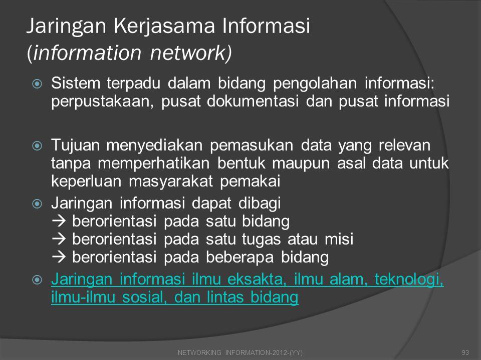 Jaringan Kerjasama Informasi (information network)