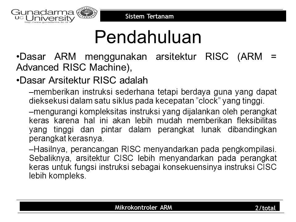 Pendahuluan Dasar ARM menggunakan arsitektur RISC (ARM = Advanced RISC Machine), Dasar Arsitektur RISC adalah.