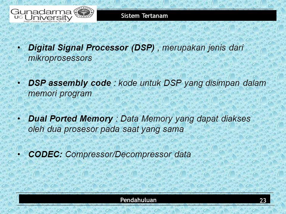 Digital Signal Processor (DSP) , merupakan jenis dari mikroprosessors