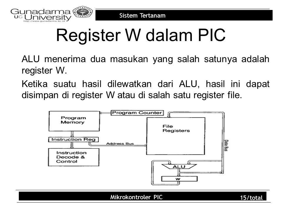 Register W dalam PIC ALU menerima dua masukan yang salah satunya adalah register W.