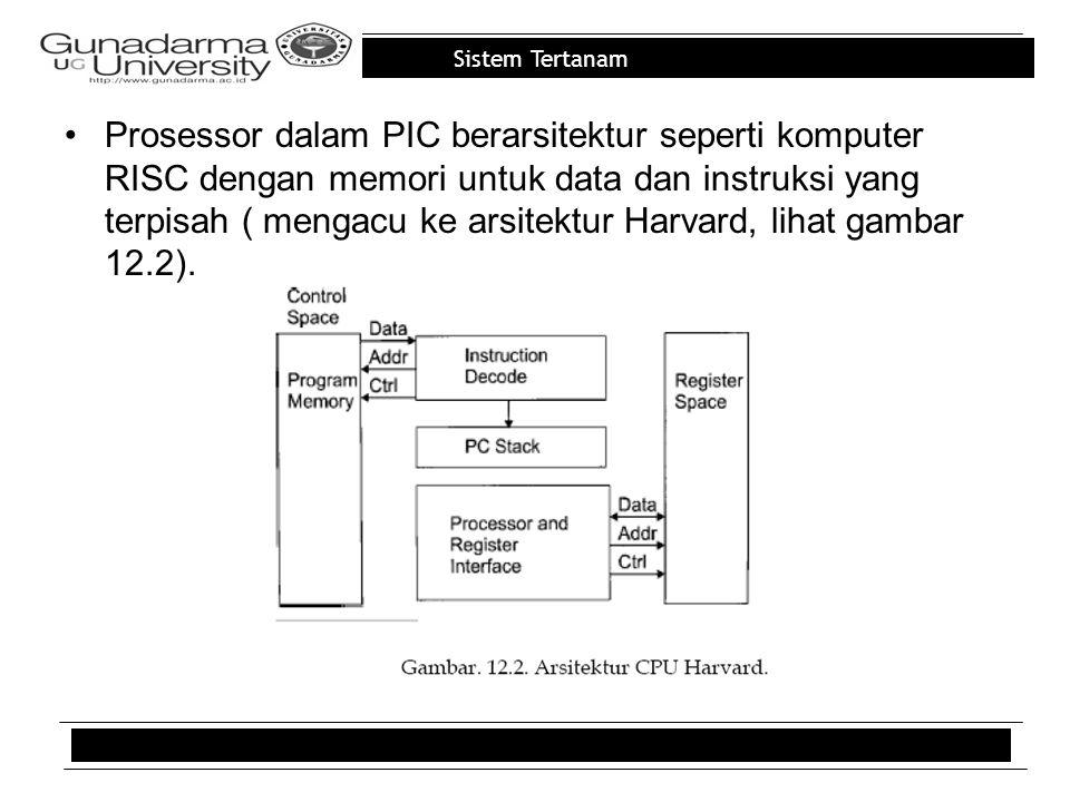 Prosessor dalam PIC berarsitektur seperti komputer RISC dengan memori untuk data dan instruksi yang terpisah ( mengacu ke arsitektur Harvard, lihat gambar 12.2).