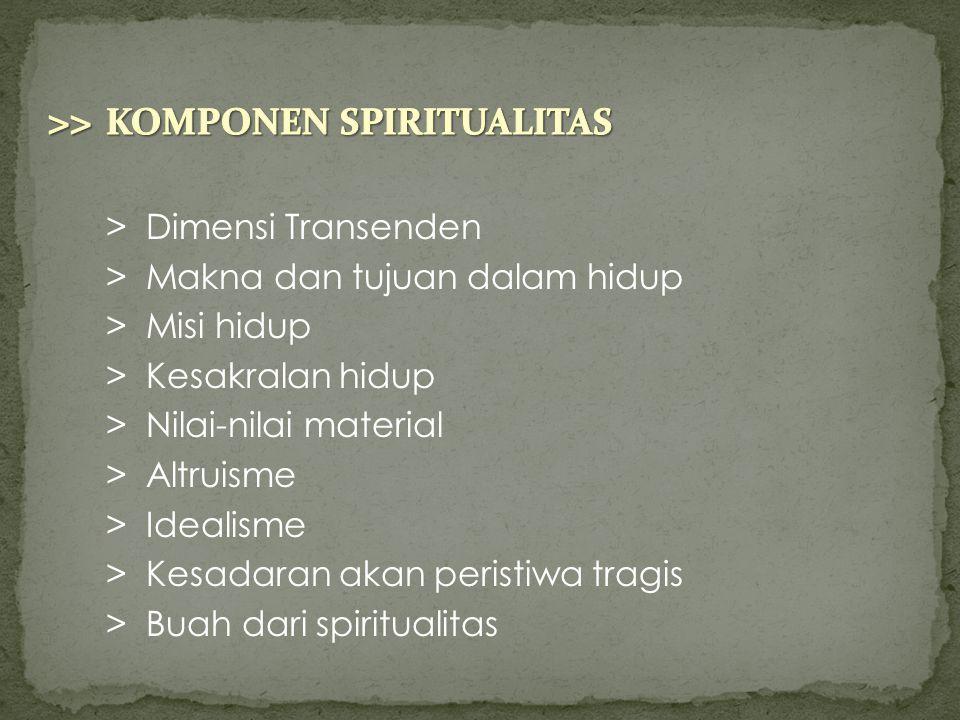 >> KOMPONEN SPIRITUALITAS