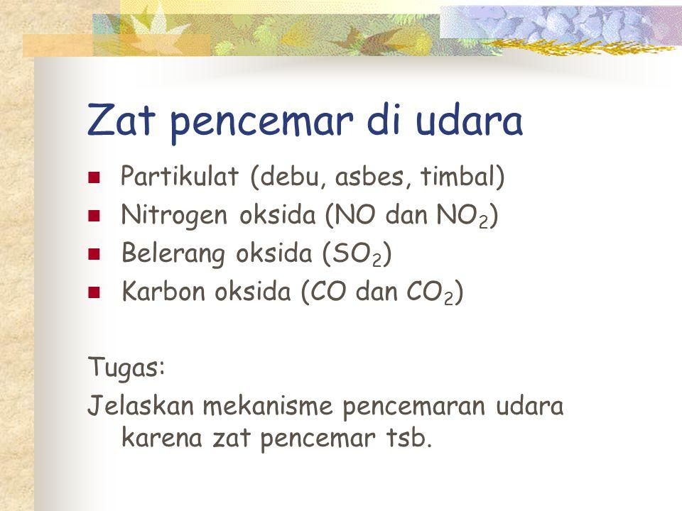 Zat pencemar di udara Partikulat (debu, asbes, timbal)