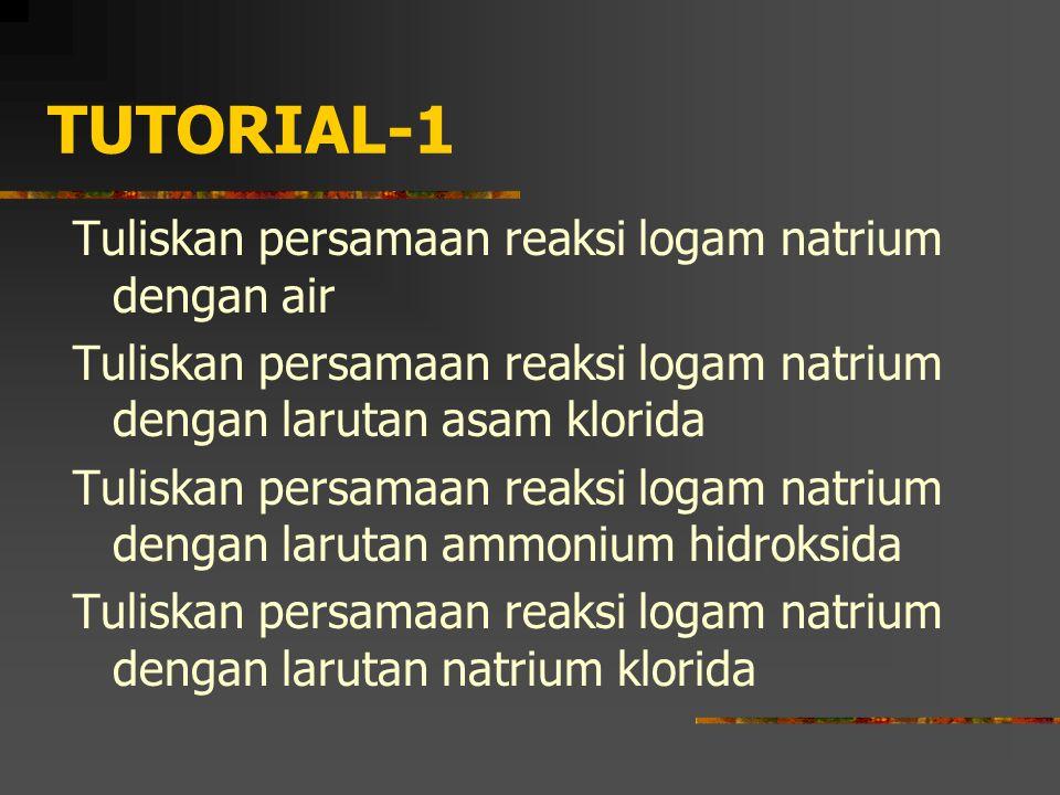 TUTORIAL-1 Tuliskan persamaan reaksi logam natrium dengan air