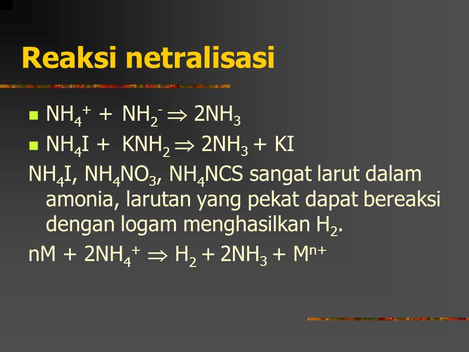 Reaksi netralisasi NH4+ + NH2-  2NH3 NH4I + KNH2  2NH3 + KI