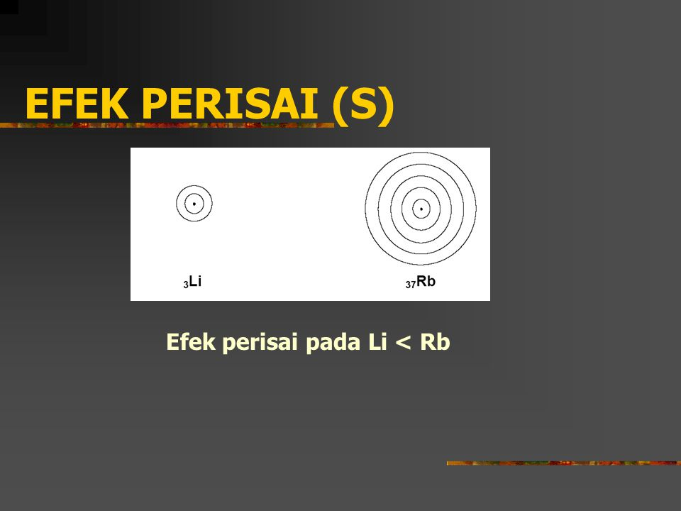 EFEK PERISAI (S) Efek perisai pada Li < Rb