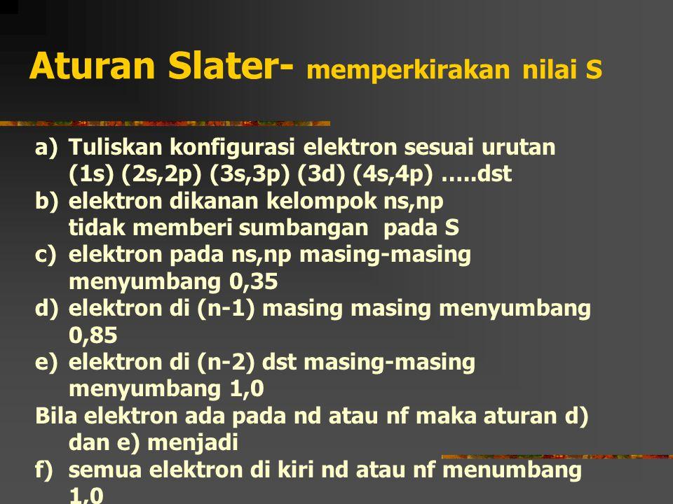 Aturan Slater- memperkirakan nilai S