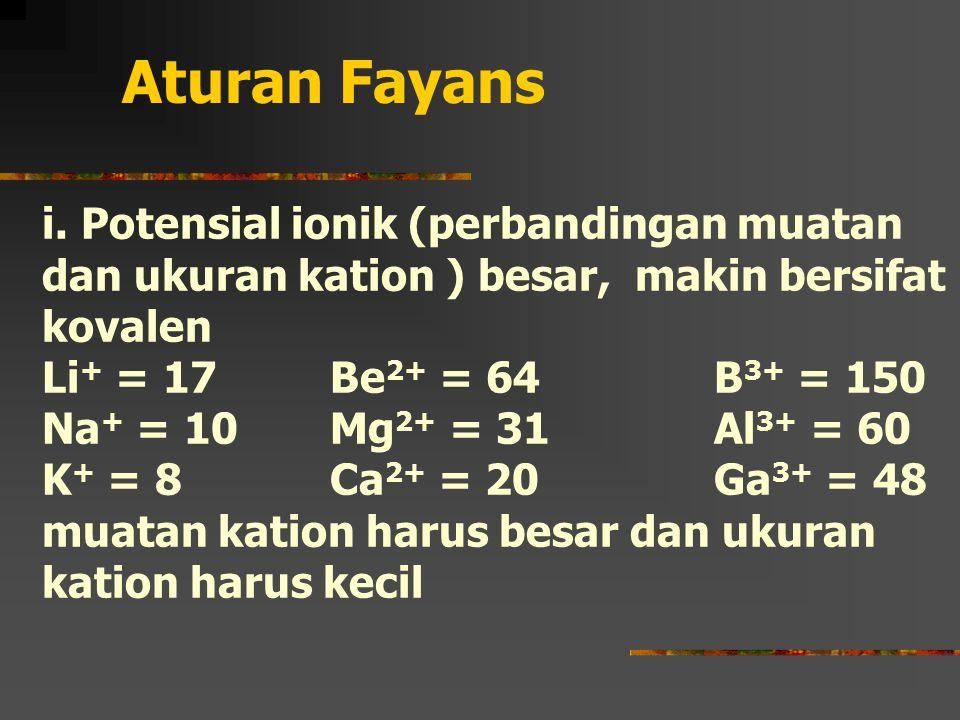 Aturan Fayans i. Potensial ionik (perbandingan muatan dan ukuran kation ) besar, makin bersifat kovalen.