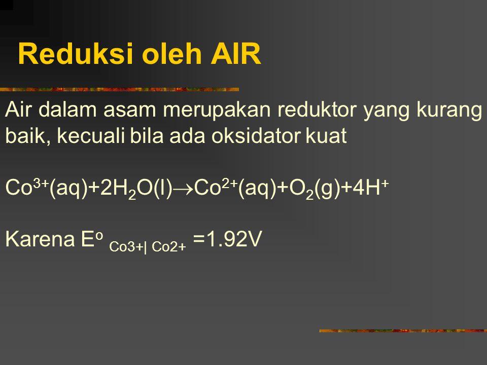 Reduksi oleh AIR Air dalam asam merupakan reduktor yang kurang baik, kecuali bila ada oksidator kuat.