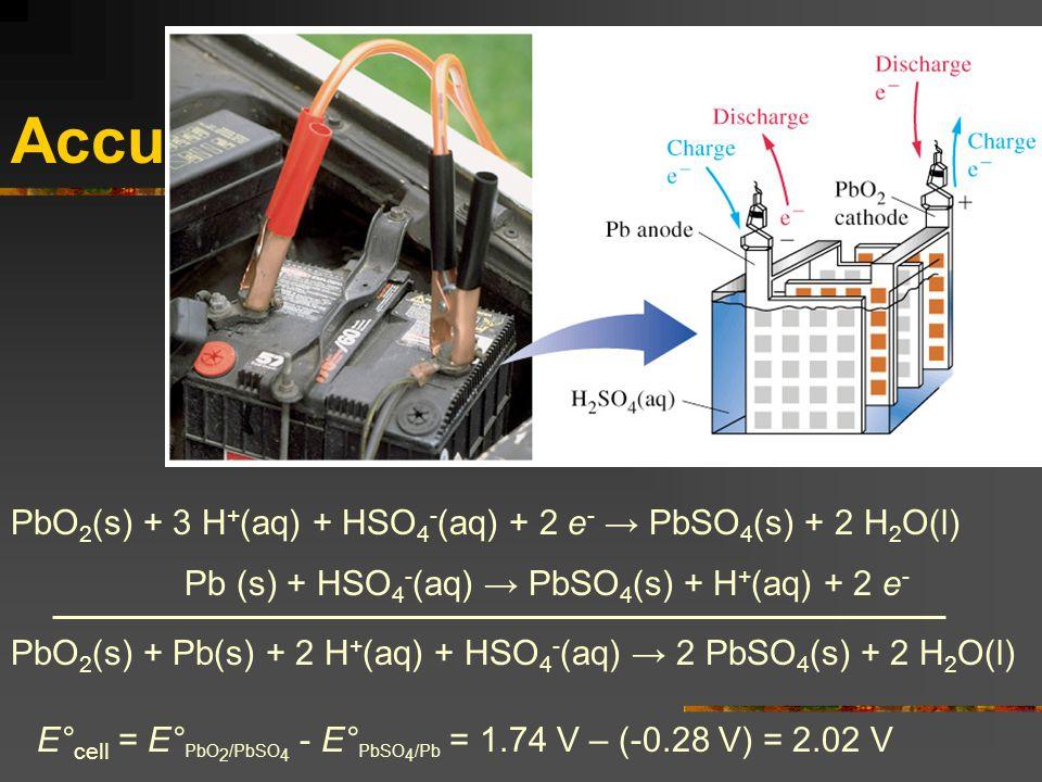Accu PbO2(s) + 3 H+(aq) + HSO4-(aq) + 2 e- → PbSO4(s) + 2 H2O(l)