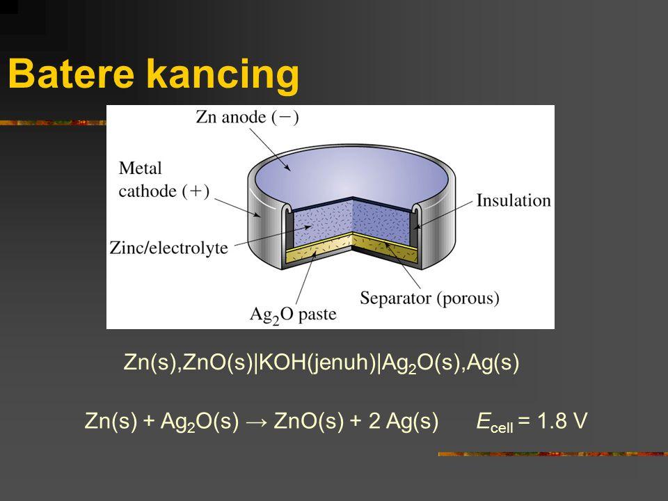 Batere kancing Zn(s),ZnO(s)|KOH(jenuh)|Ag2O(s),Ag(s)