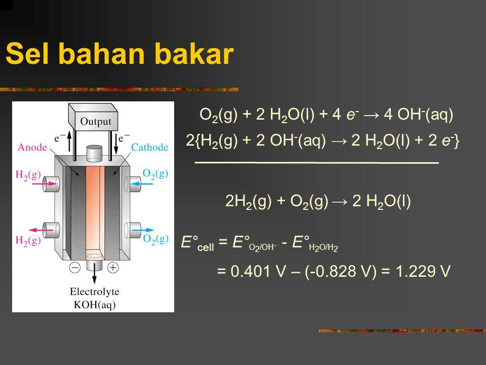 Sel bahan bakar O2(g) + 2 H2O(l) + 4 e- → 4 OH-(aq)