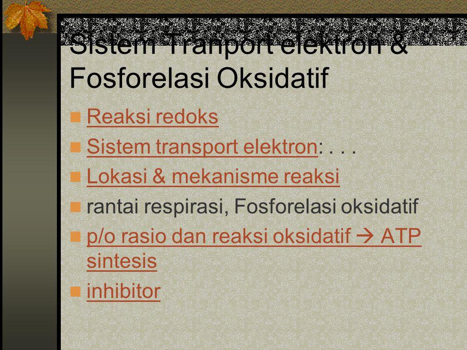 Sistem Tranport elektron & Fosforelasi Oksidatif