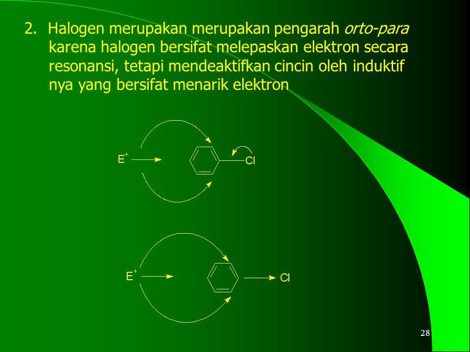 Halogen merupakan merupakan pengarah orto-para