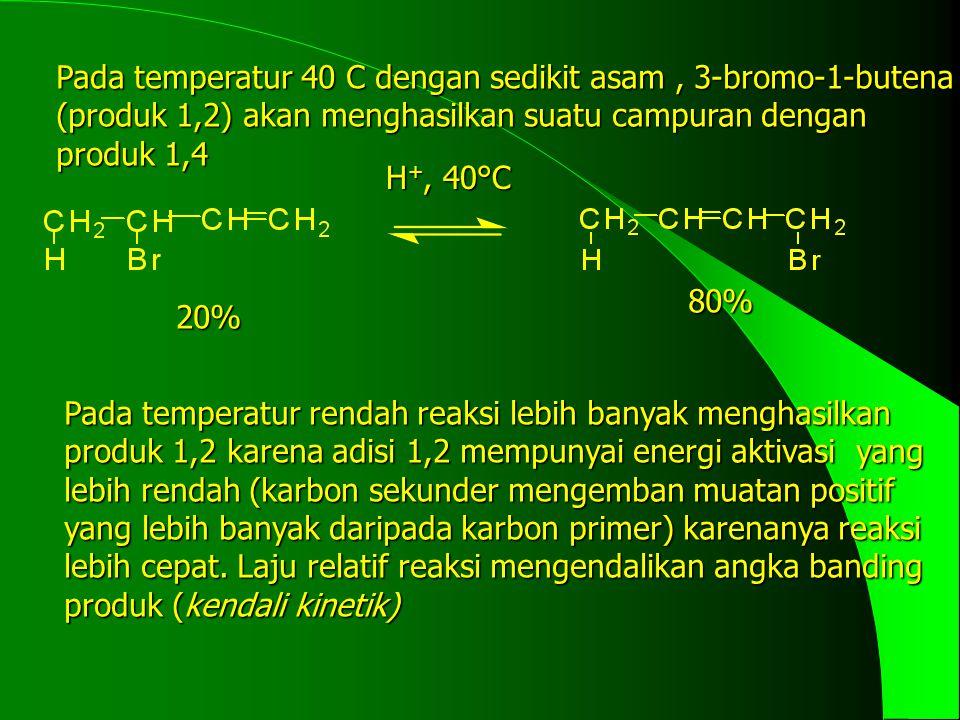 Pada temperatur 40 C dengan sedikit asam , 3-bromo-1-butena