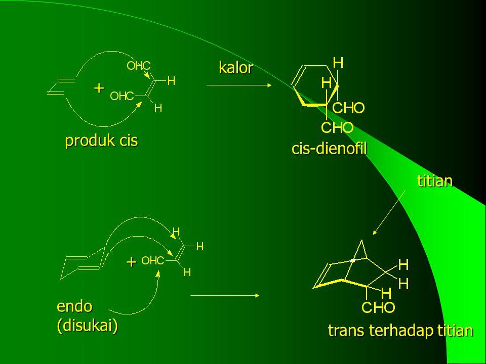 kalor + produk cis cis-dienofil titian + endo (disukai) trans terhadap titian