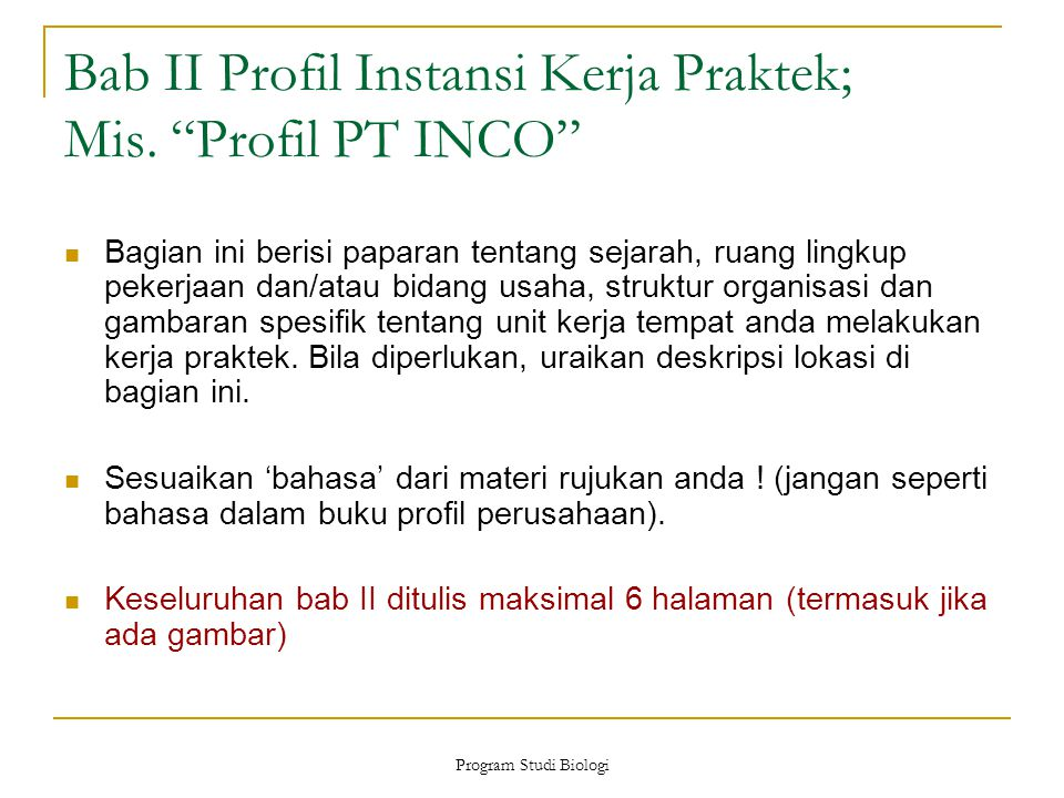 Bab II Profil Instansi Kerja Praktek; Mis. Profil PT INCO