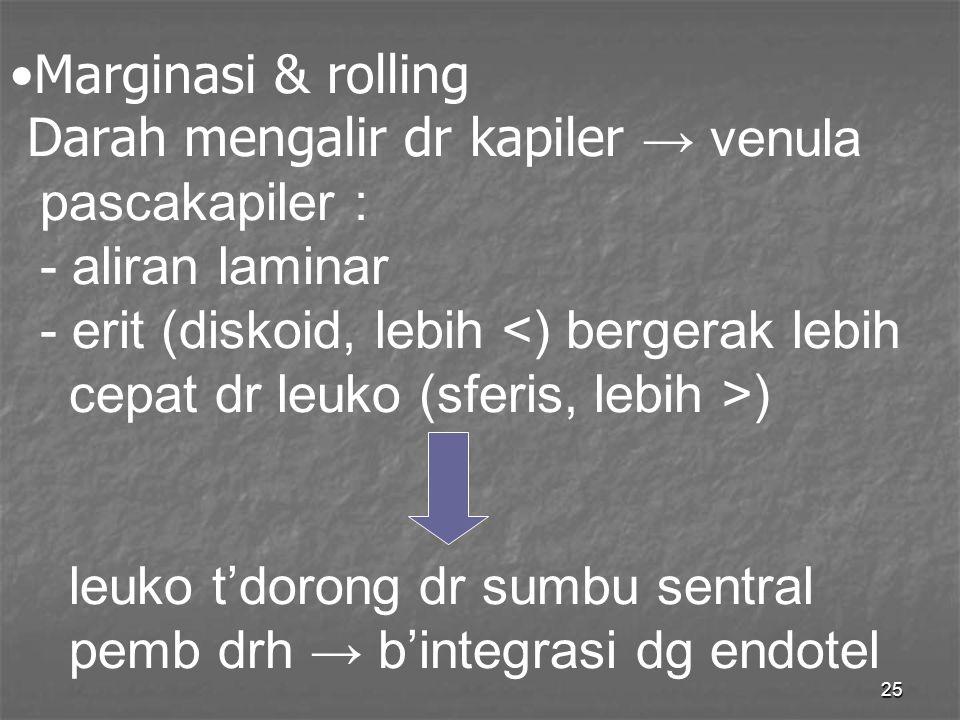 Marginasi & rolling Darah mengalir dr kapiler → venula pascakapiler : - aliran laminar - erit (diskoid, lebih <) bergerak lebih cepat dr leuko (sferis, lebih >) leuko t'dorong dr sumbu sentral pemb drh → b'integrasi dg endotel