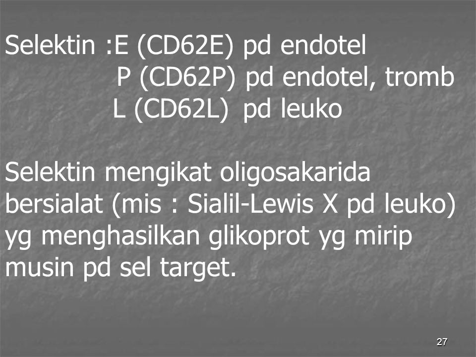 Selektin :E (CD62E) pd endotel. P (CD62P) pd endotel, tromb L (CD62L)