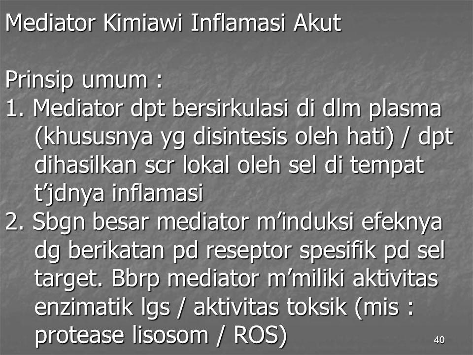 Mediator Kimiawi Inflamasi Akut Prinsip umum : 1