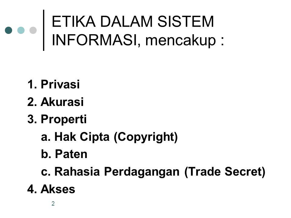 ETIKA DALAM SISTEM INFORMASI, mencakup :