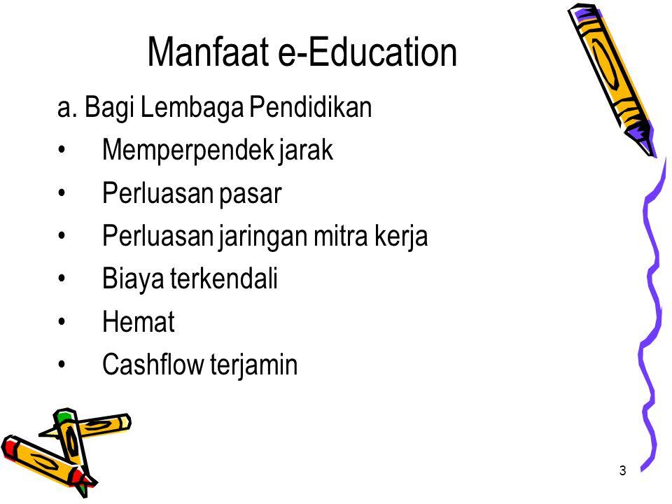 Manfaat e-Education a. Bagi Lembaga Pendidikan Memperpendek jarak