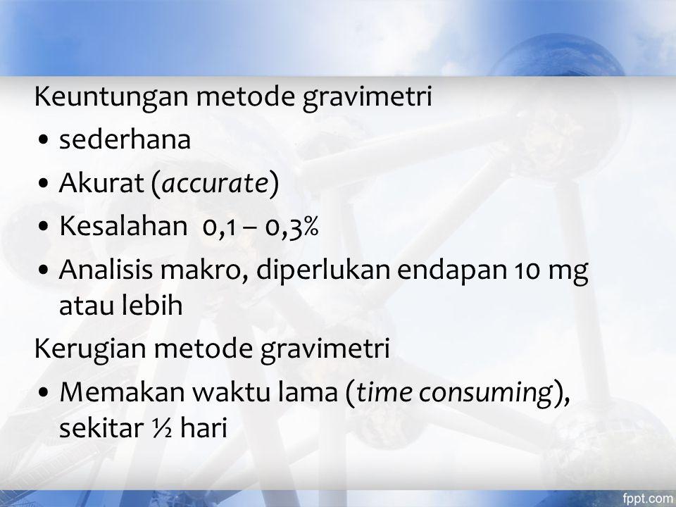Keuntungan metode gravimetri