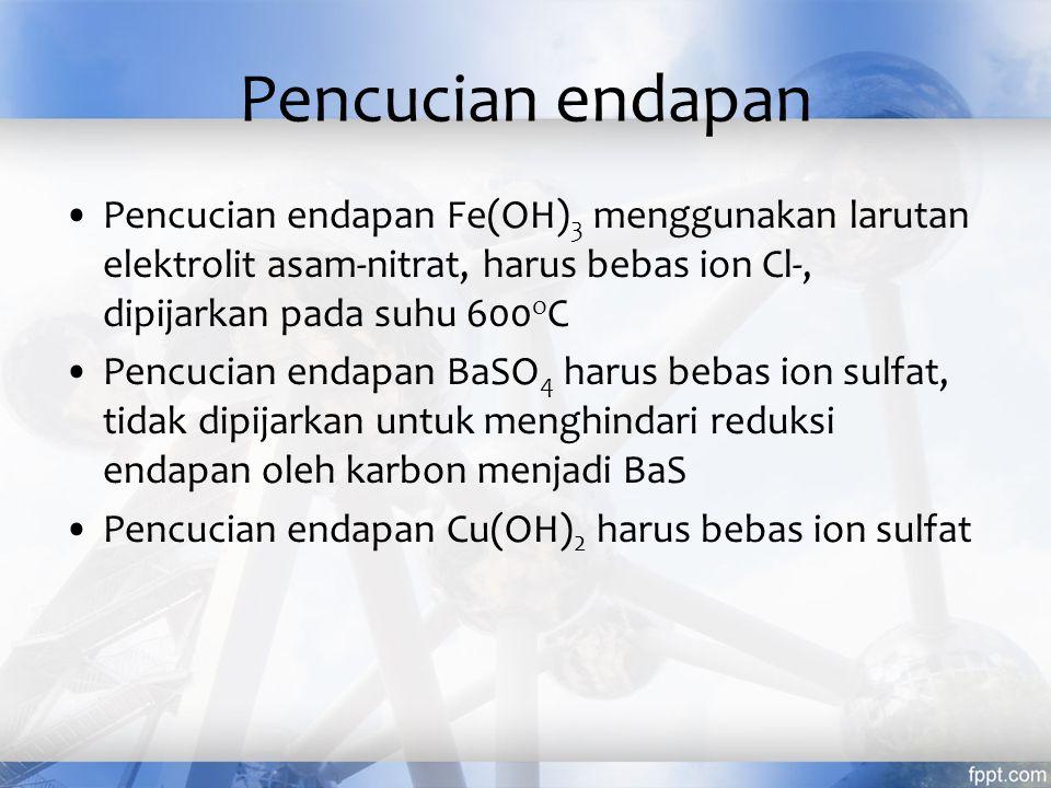 Pencucian endapan Pencucian endapan Fe(OH)3 menggunakan larutan elektrolit asam-nitrat, harus bebas ion Cl-, dipijarkan pada suhu 600oC.