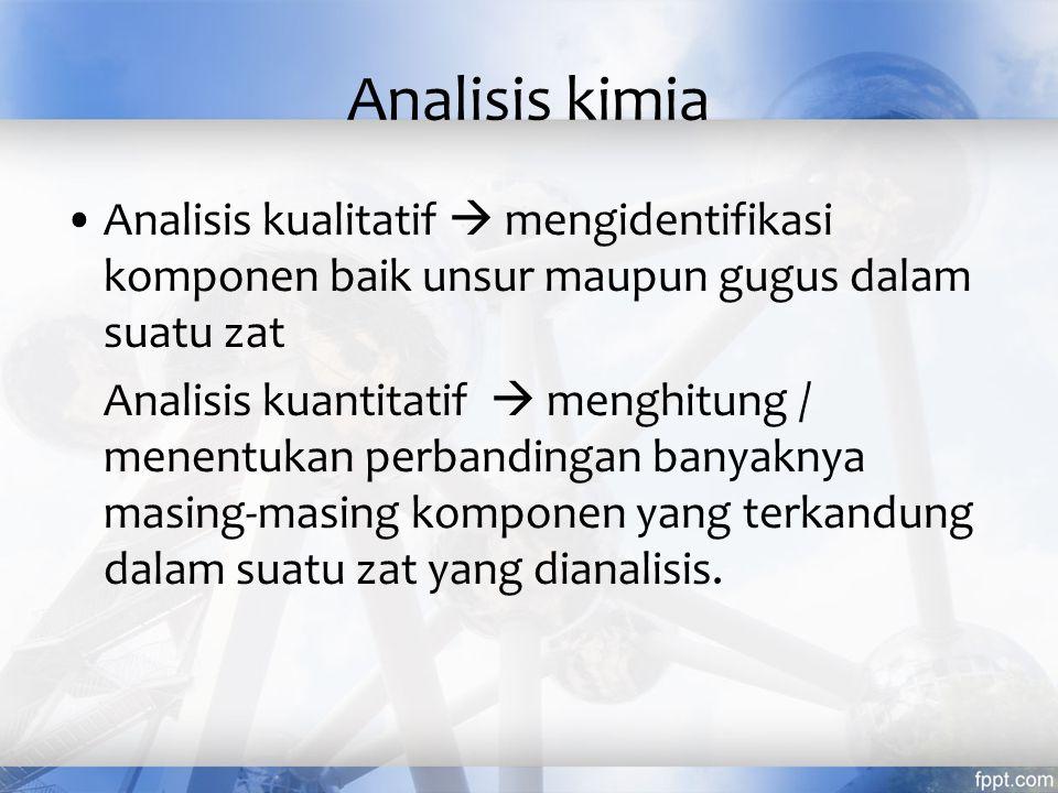 Analisis kimia Analisis kualitatif  mengidentifikasi komponen baik unsur maupun gugus dalam suatu zat.