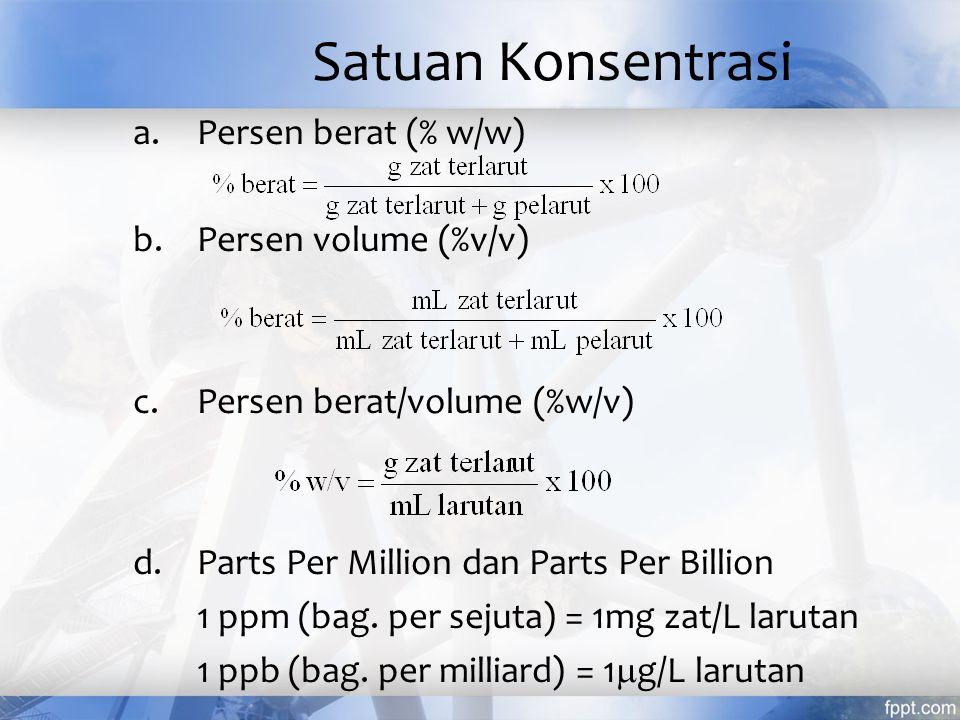 Satuan Konsentrasi Persen berat (% w/w) Persen volume (%v/v)