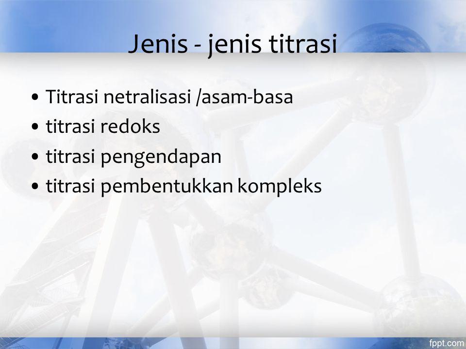Jenis - jenis titrasi Titrasi netralisasi /asam-basa titrasi redoks