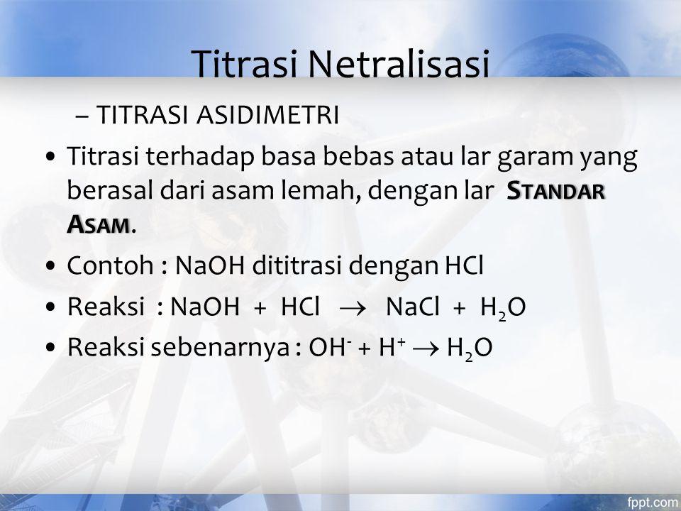 Titrasi Netralisasi TITRASI ASIDIMETRI