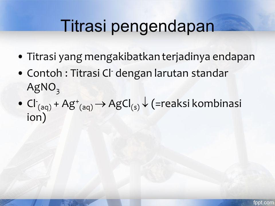 Titrasi pengendapan Titrasi yang mengakibatkan terjadinya endapan