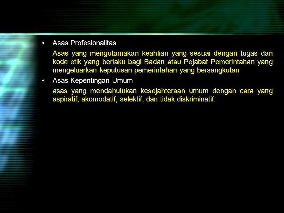 Asas Profesionalitas
