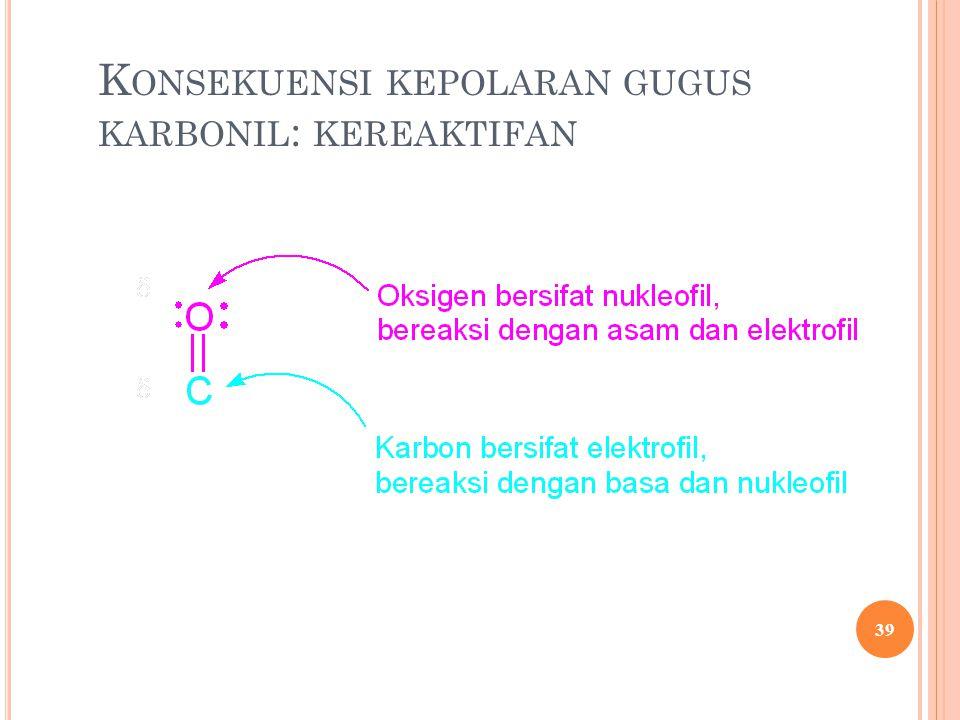 Konsekuensi kepolaran gugus karbonil: kereaktifan