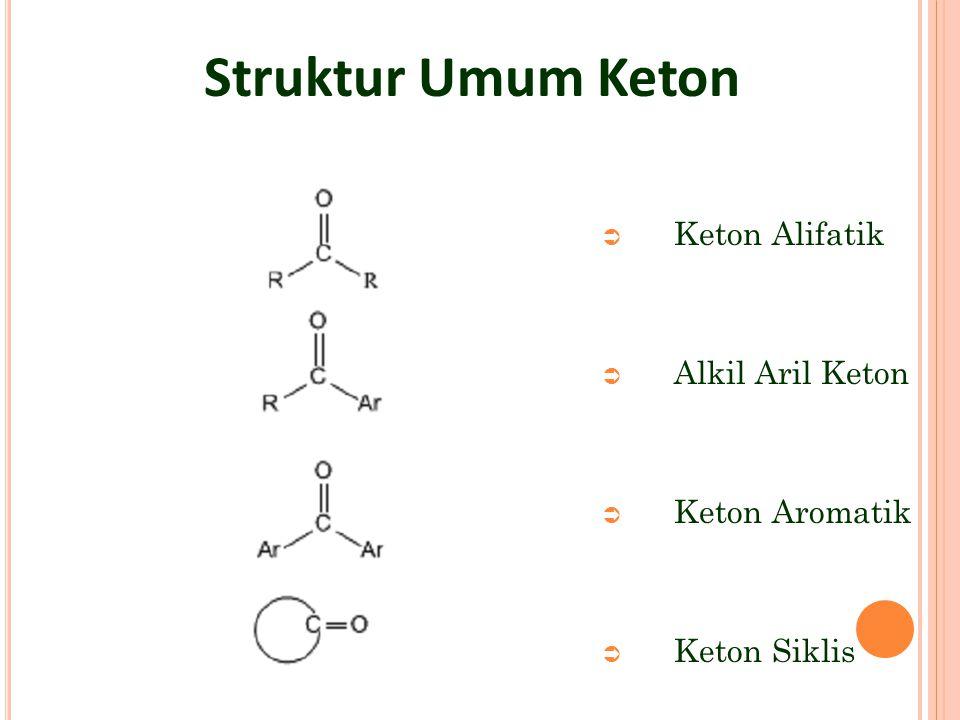 Struktur Umum Keton Keton Alifatik Alkil Aril Keton Keton Aromatik