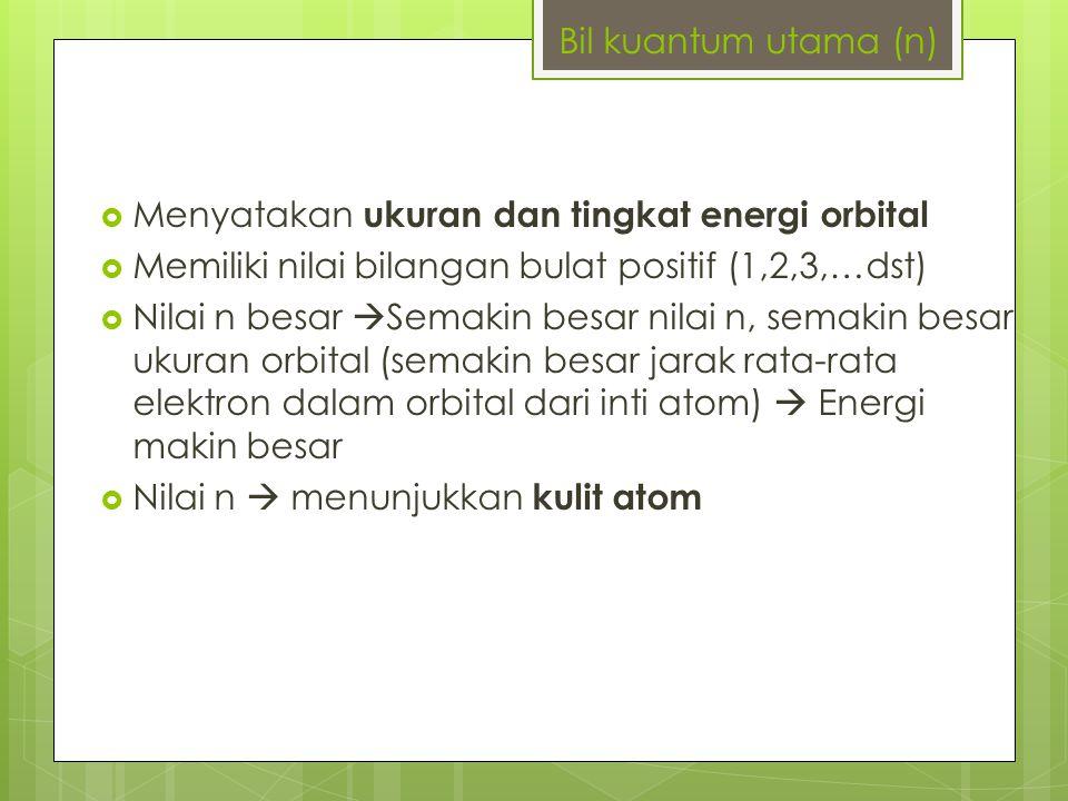 Bil kuantum utama (n) Menyatakan ukuran dan tingkat energi orbital. Memiliki nilai bilangan bulat positif (1,2,3,…dst)