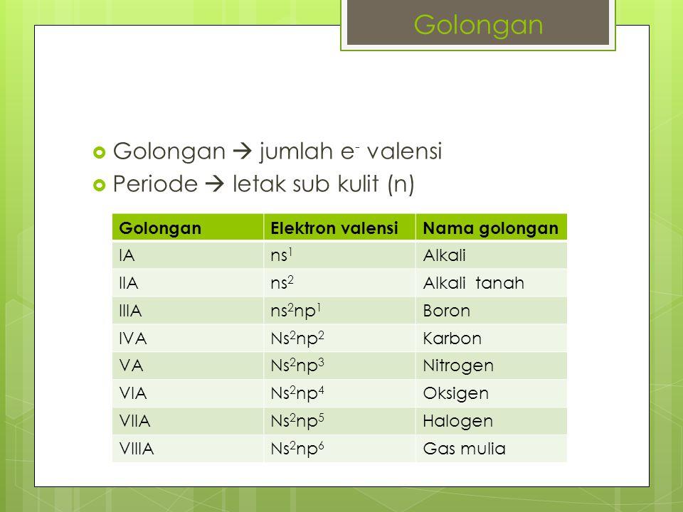 Golongan Golongan  jumlah e- valensi Periode  letak sub kulit (n)