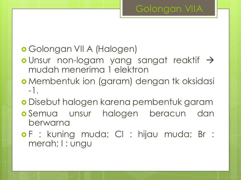 Golongan VIIA Golongan VII A (Halogen)